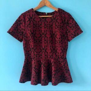 Peplum Wine & Black Design Short Sleeve Date Night